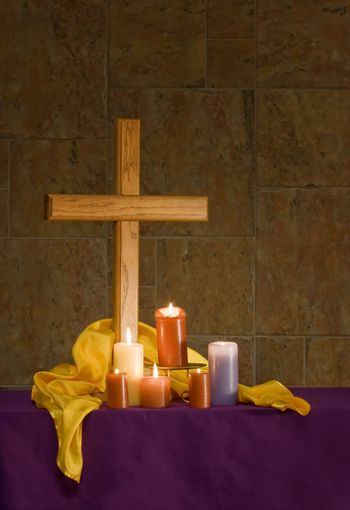 Christian alter with cross and candles