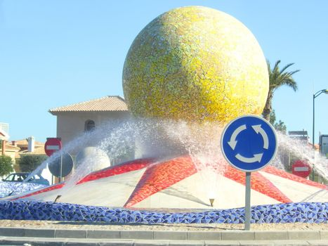roundabout with a water display