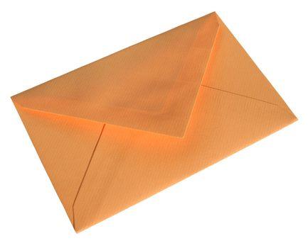 Orange envelope isolated on white background