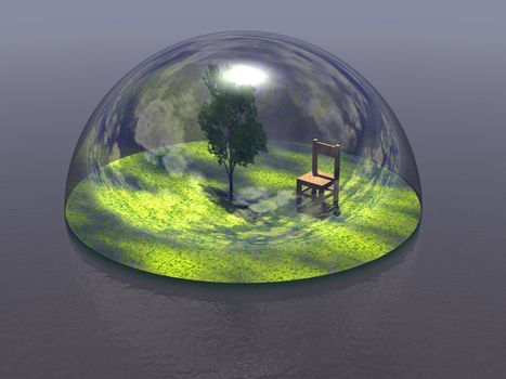 tree and chair under a glas dome