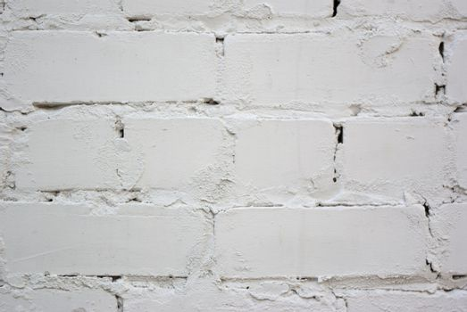 The grunge white brick wall for backgroun