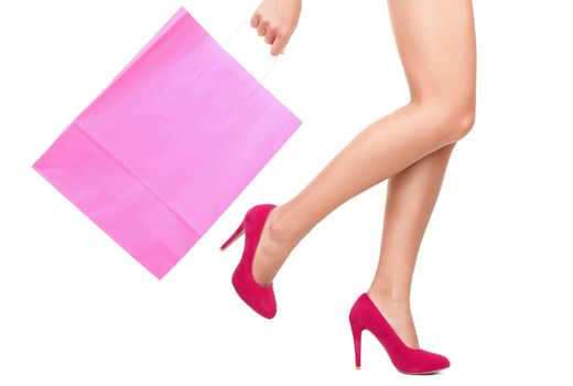 Shopping bag and woman - copy space on bag
