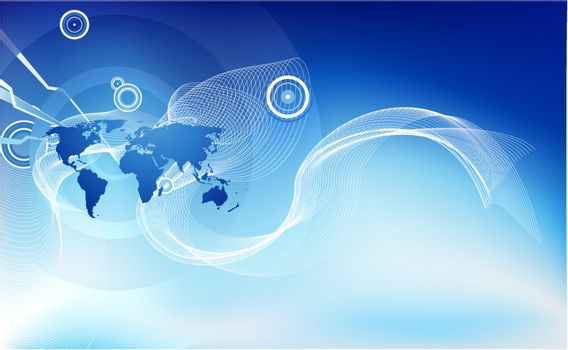 An abstract corporate business background symbolising the concept of global business, communications and travel or people or information.