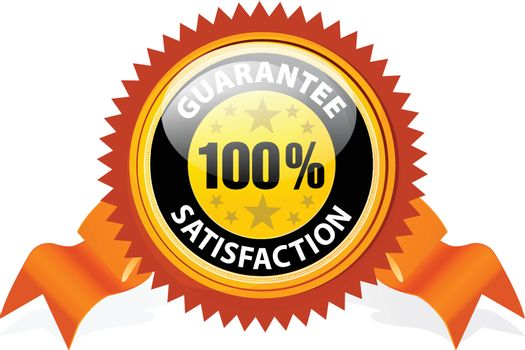 100% Satisfaction Guaranteed Sign with ribbon on white background