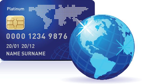 Internet Banking. Credit card with world map and Globe. Payment concept.
