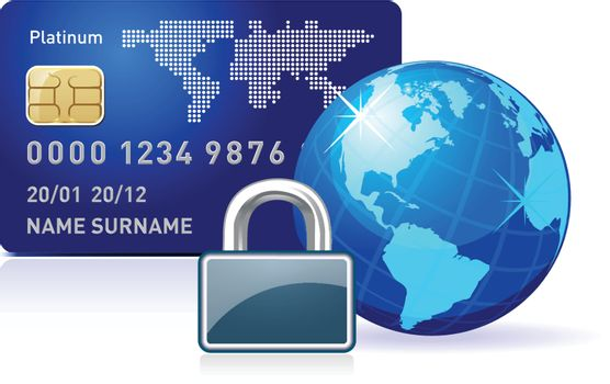 Abstract illustration representing secure online payment on white
