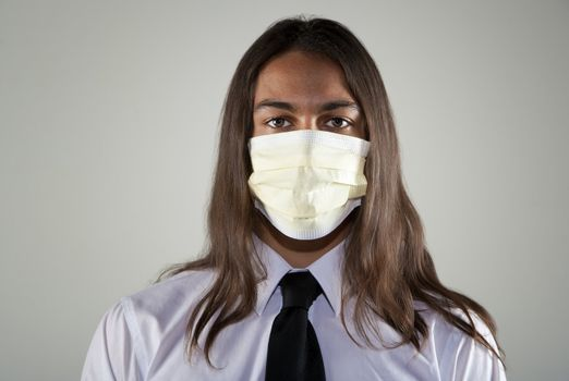 Man wearing a breathing mask