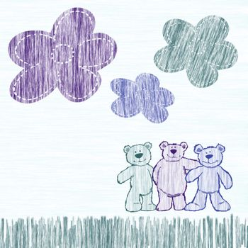Cute little bears drawn by a pencil