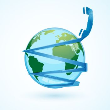 illustration of global communication  with phone and globe