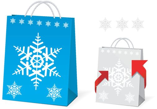 Christmas Paper Bag Design on white background