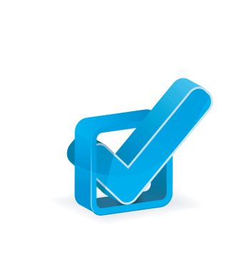 Blue check box with check mark on white background