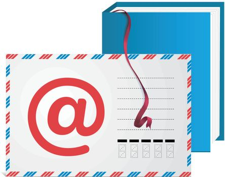 E-mail address book with bookmark ribbon on white background