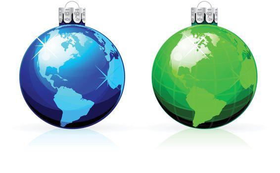 Globe christmas balls. Christmas baubles with World map.