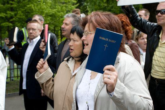 RIGA, LATVIA, MAY 16, 2009: Protestors against Baltic Gay Pride 2009.