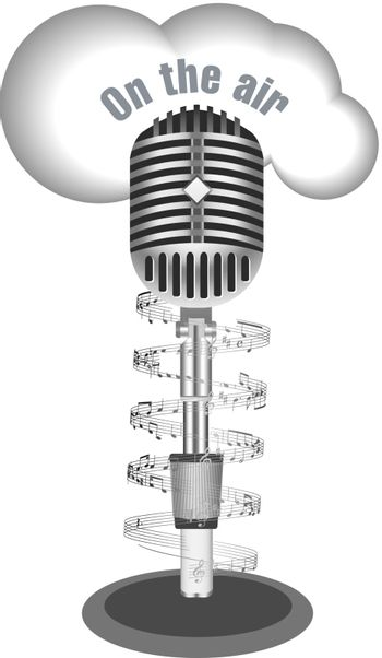 Antique microphone with music note on white