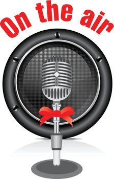 Vector retro microphone with speaker