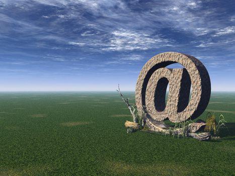 email alias on green field - 3d illustration