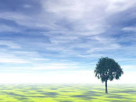 lonely tree on a field and cloudy background - 3d illustration
