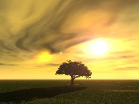 tree at a surreal landscape - 3d illustration