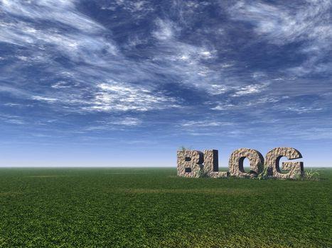 blog rock on green field - 3d illustration