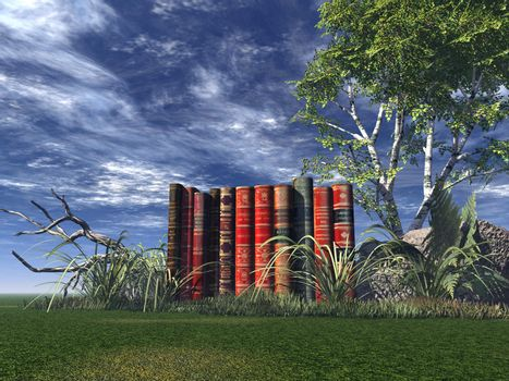 old books on a green field