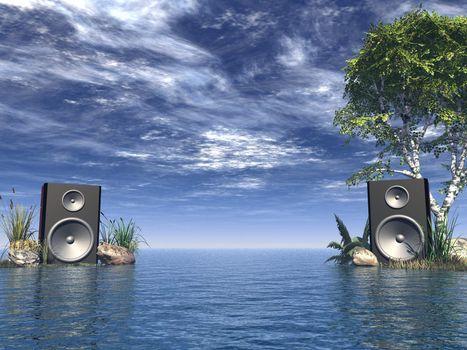 loudspeakers at the ocean - 3d illustration
