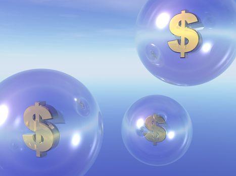 transparent balls with dollar sign inside in the sky - 3d illustration