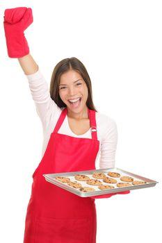 Baking woman on white background