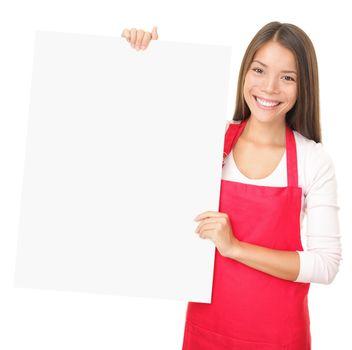 Sales clerk showing blank sign