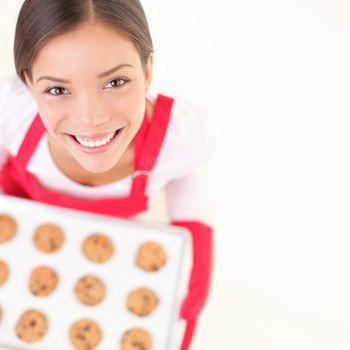 Baking woman copy space
