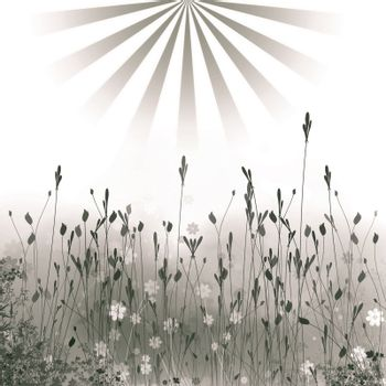 Abstract background from a flowers simulating meadow and the sun