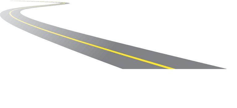 vector black asphalt road on white background