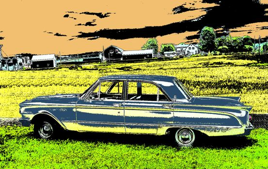 An Old Car in front of a Field