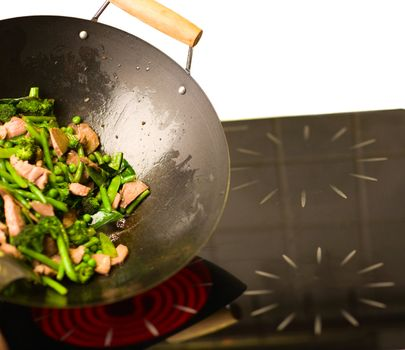 Chef cooking wok