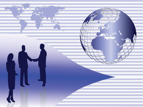 Business concept with business people in silhouette shaking hands in front of a globe of the earth