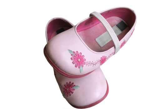 embroidered childrens pink shoes over white