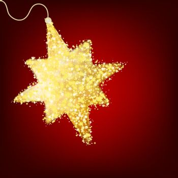 Postcard with a twinkling gold star. EPS 8