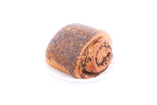 Bread Roll with poppyseed isolated over white background