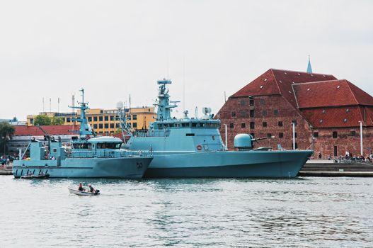 Battleships anchored in harbour