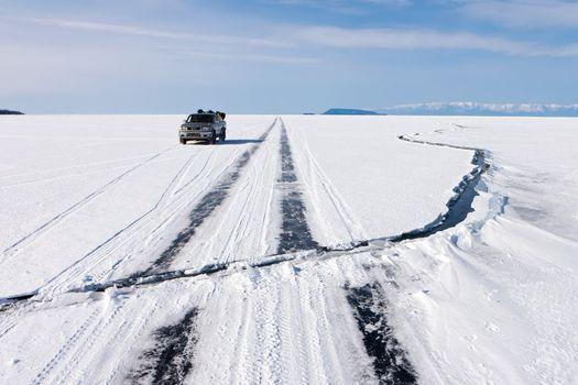 Crack on an ice of Baikal