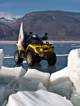 all-terrain vehicle On an ice of Baikal