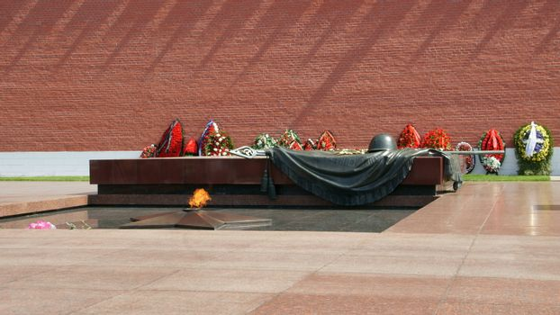 Eternal fire at walls of the Moscow Kremlin