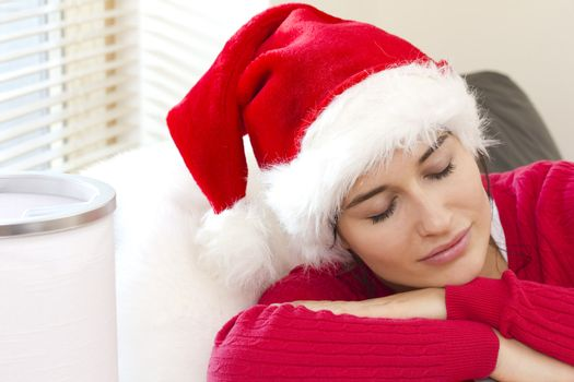 Cute girl is sleeping awaiting for Santa