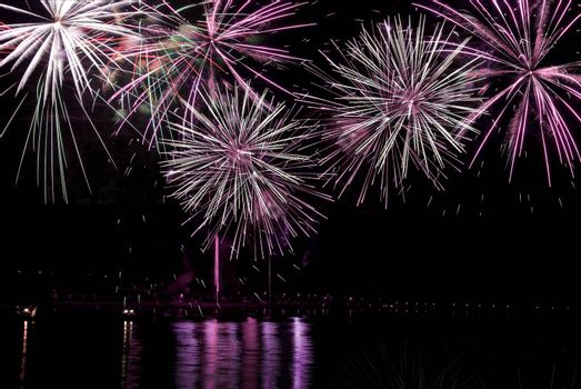 Firework streaks in the night sky during celebrations.