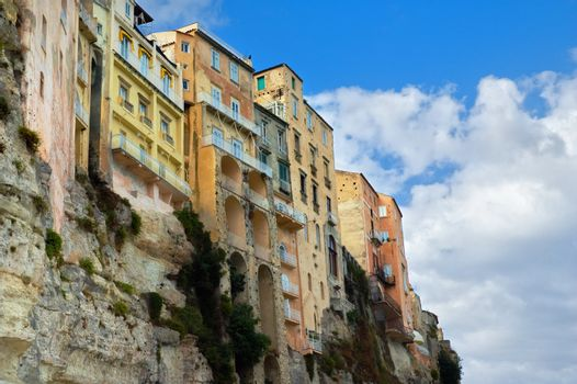 Ancient houses in Tropea, Italy. Copy space.