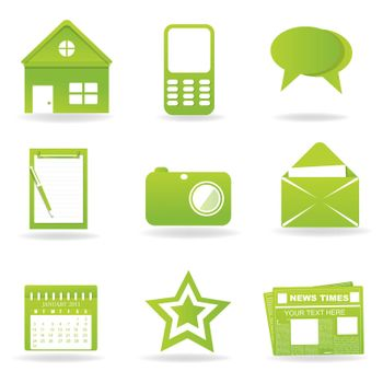 illustration of communication icons on white background