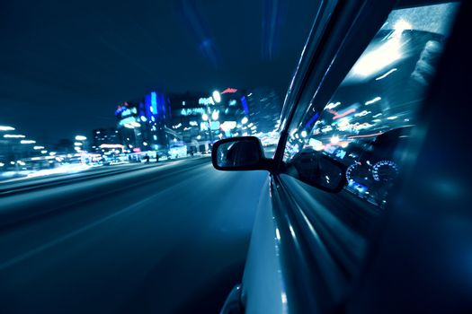 car fast drive on highway in night