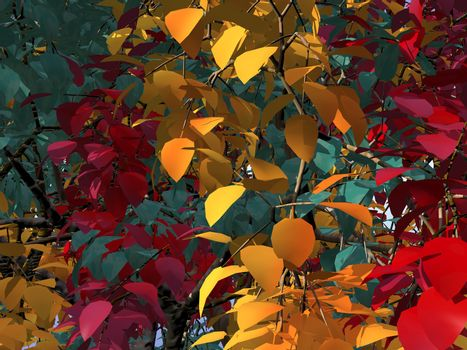 colorful foliage - 3d illustration - green, red, yellow