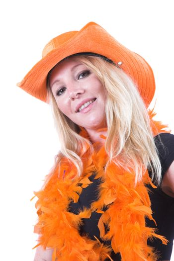 Pretty blond woman supporting Holland in the worldcup, all dressed in orange