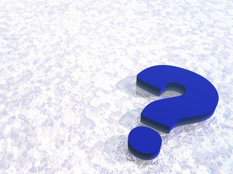 bl question mark on snow background - 3d illustration